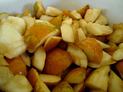 chopped pears for pear butter
