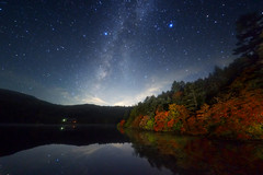 Galaxy autumn lake (masahiro miyasaka) Tags: pink blue autumn red sky mountains tree beautiful yellow japan night canon wonderful stars wonder outdoors star nice fisheye explore galaxy astrophotography  alpen  oneshot milkyway coloredleaves  startrail   eart