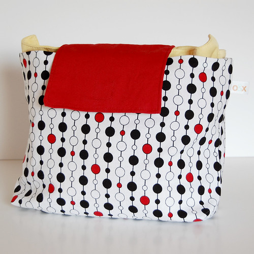 {cloth diaper clutch} black, white & red