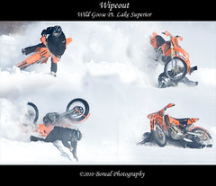 Wipeout Montage (Boreal Photography) Tags: deer motorcycle thunderbay boreal iceracing