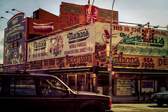 Nathan's Hot Dogs at Coney Island (morten almqvist) Tags: hot dogs zeiss 35mm island sigma carl m42 flektogon coney nathans f24 sd14 sigma50th