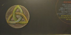 Triquetra - Grade 6 Geometry Chalk Drawing Rick Tan Davis Waldorf School (Syrendell) Tags: art circle triangle drawing geometry waldorf knot math chalkboard triquetra ricktan