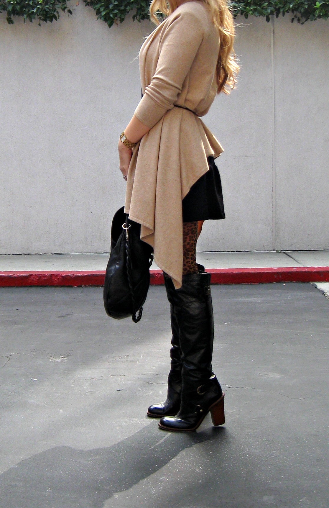 wrap sweater leopard tights and boots