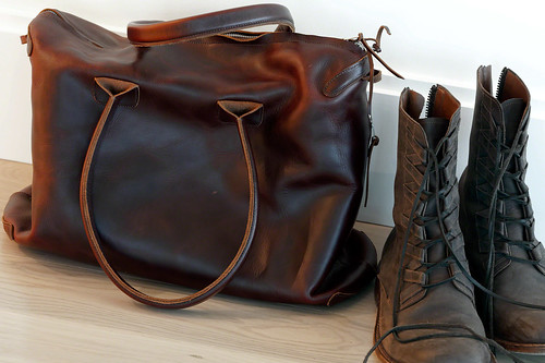 Handmade Basil Racuk Mini-Voyager Bag in brown waxed cow leather