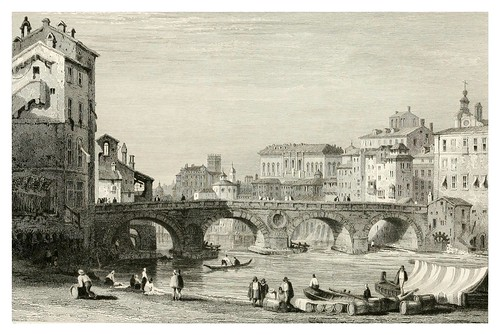 020-El puente Sisto en Roma-The tourist in Switzerland and Italy-1830-Samuel Prout