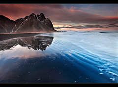 Rippled Reflection - Vestrahorn, Iceland (orvaratli) Tags: ocean beach easter landscape iceland sand waves peak arctic vatnajkull vestrahorn