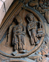 Annunciation roundel medieval carving