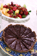 Chocolate tart and fruit platter