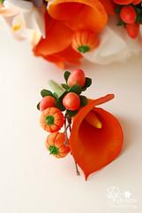 stephaniek3 (dkdesigns) Tags: pumpkins englishroses astromelia decoclay claycraftbydeco orangecallas hipericumberries dkdesignsandclayflowerbouquetsandboutonnieres chocolatekingprotea