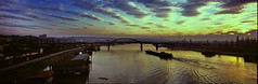 Sa Brankovog mosta (Vespazian) Tags: bridge sunset panorama clouds linhof belgrade beograd sava 6x17 technorama brankovmost