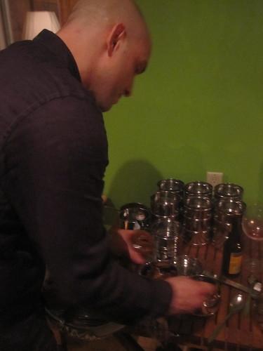 Chef Jordan prepare a to-go dessert Tiffin for us