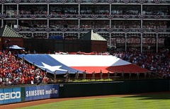 this was underneath the american flag (allikazoo) Tags: texasrangers newyorkyankees alcs