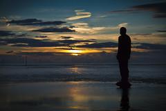 Last light, Crosby beach. Explored! (Ianmoran1970) Tags: blue sunset beach statue gold ironman crosby anthonygormley anotherplace explored ianmoran ianmoran1970