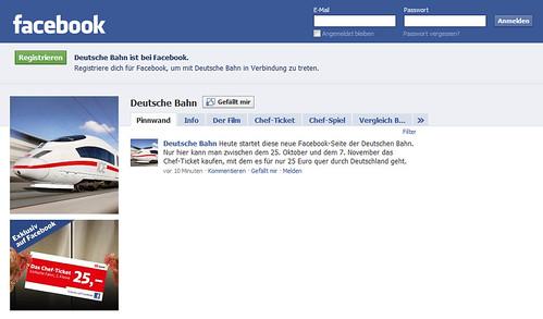 Deutsche Bahn Facebook Fanseite Chefticket