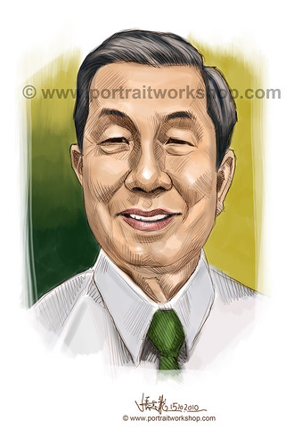 digital portrait illustration of Tan Choon Kim watermark