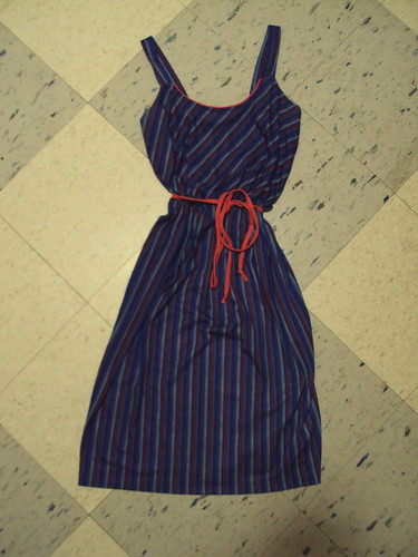Vintage Red and Blue Striped Dress