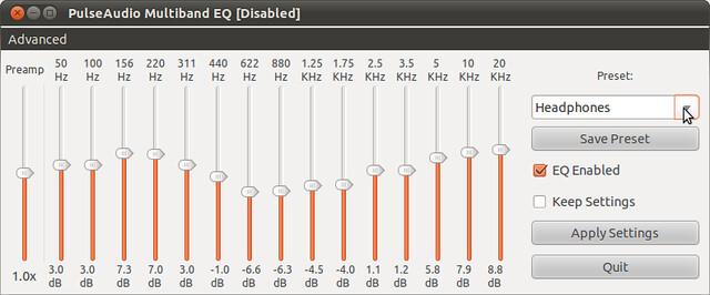 Figura 4 - Scelta di un profilo predefinito PulseAudio Equalizer, audio sale ancora al massimo;