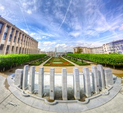 A Walk to Remember: Mont des Arts, Brussels, Belgium (Tomasito.!) Tags: flowers light shadow brussels vacation sky urban panorama art history love nature glass beautiful leaves lines museum clouds photoshop plane buildings garden painting square macintosh landscape concrete photo artwork mac nikon colorful europe king day shadows belgium princess steel jet perspective surreal kingdom wideangle prince courtyard historic queen fisheye soil stitching pillars jt tress royalty hdr monarchy touristspot noriega msf montdesarts cs4 tomasito kingalbert d90 photomatix vertorama mygearandme europeansky