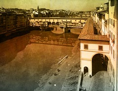 rework of a tourist..... (- Carsten -) Tags: italien bridge sky italy colors canon river grey florence italia himmel grau august overlay ponte textures firenze arno blau brcke fluss spiegelung pontevecchio refelction florenz 2010 ornage toskana multiply refelections spiegelungen uffizien