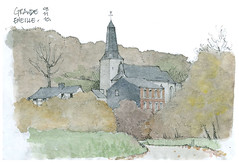Eneille, automne (gerard michel) Tags: architecture sketch belgium aquarelle watercolour croquis