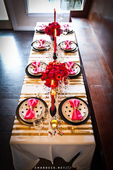 5115939715_607238d3dc_o (mscott218) Tags: pink flowers red black gold design interiors interior stripes dining interiordesign entertaining tablescape