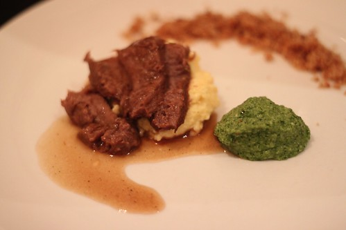 double braised ox tongue served on polenta