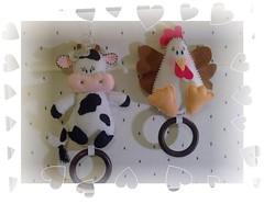 Mimosa e Cocoreca (O Cantinho da Xanda) Tags: feltro cozinha vaca galinhas