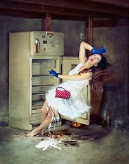 The Overworked Woman. (K-Lewis) Tags: blue red portrait woman kitchen vintage 50mm flying milk movement nikon surrealism magic levitation brooke polka falling redlips barefeet lipstick trick refrigerator dots miss impossible aniela katiejohnson missaniela d300s brookeshaden