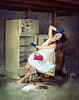 The Overworked Woman. (K-Lewis) Tags: blue red portrait woman kitchen vintage 50mm flying milk movement nikon surrealism magic levitation brooke polka falling redlips barefeet lipstick trick refrigerator dots miss impossible aniela katiejohnson missaniela d300s brookeshaden
