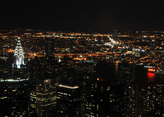 Chrysler Building  (View from Empire State) (Gane) Tags: newyorkcity light building night river skyscrapers empirestate hudson chrysler