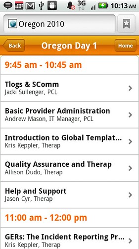 Screenshot of Oregon Conference Session Details of day 1 from mobile device