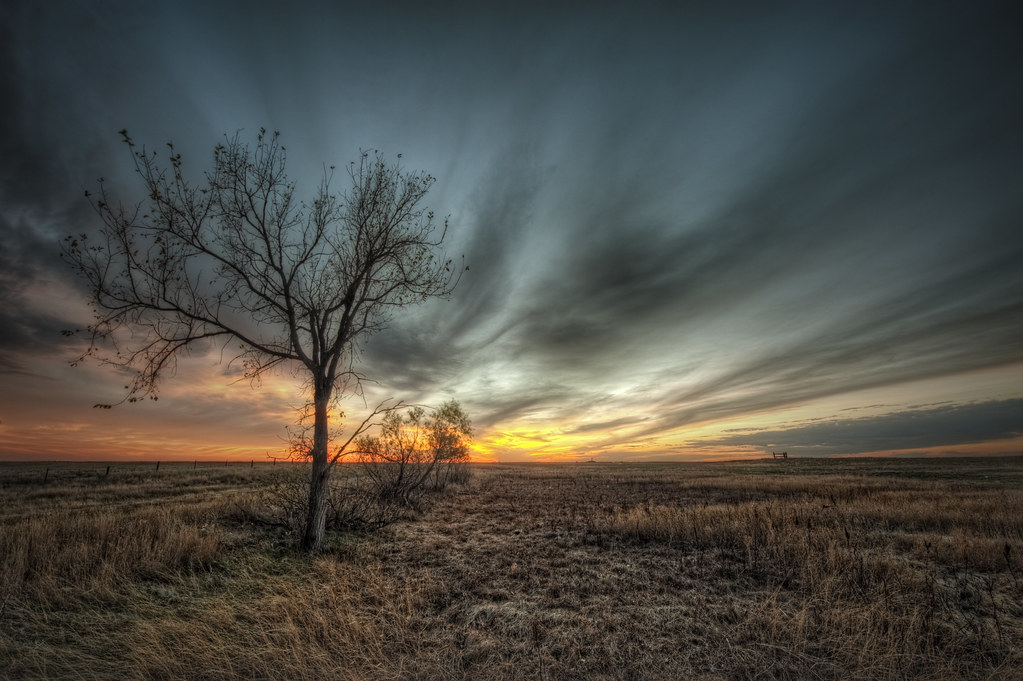 A sunset just off the highway in South Dakota.