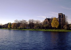 Autumn along the river Ness in Inverness Scotland