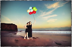 Last Beach Sunset in California (Extra Medium) Tags: clouds balloons daughter mother littleblackdress cocktaildress sloppyborder elmatadorstatebeach