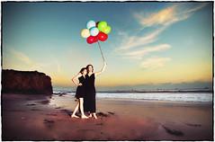 Last Beach Sunset in California (Extra Medium) Tags: clouds balloons daughter mother littleblackdress cocktaildress sloppyborder elmatadorstatebeach