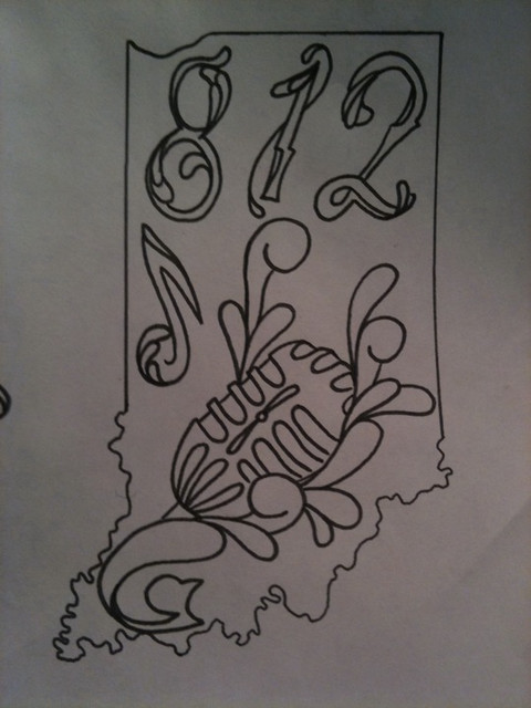 Outline for a series of Indiana tattoos I'm working on.