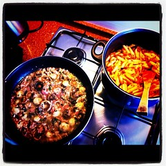 Champis con bacon&macarrones probolone