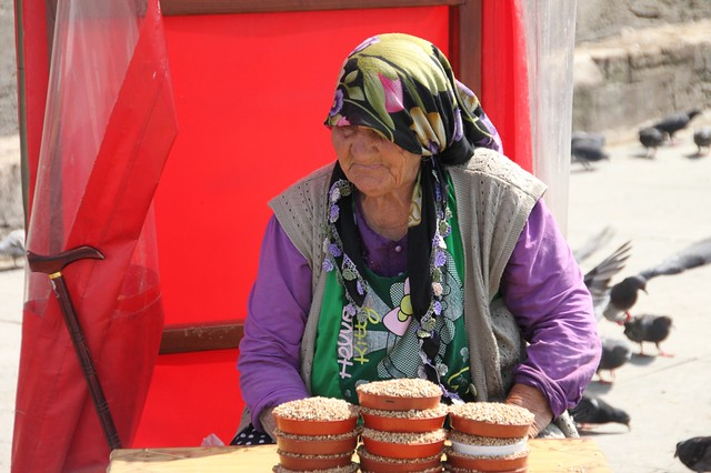 Woman selling seeds