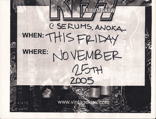 11/25/05 Vintage Kiss @ Serum's, Anoka, MN (Flyer - Bottom)