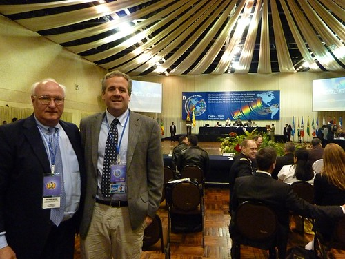 WOLA's George Withers and Adam Isacson at the IX CDMA in Santa Cruz, Bolivia