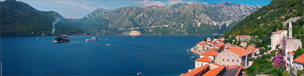 Perast coastline panorama