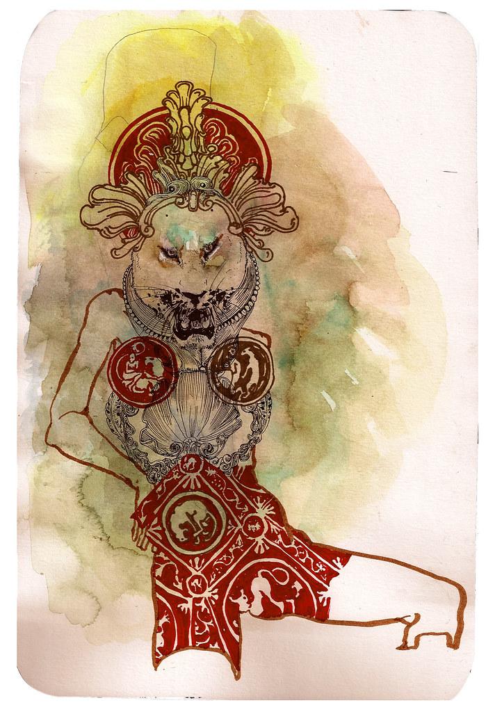 sekhmet wearing royal red