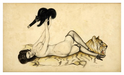 004-Alberto Vargas- Mujer con gato-estudio-1915