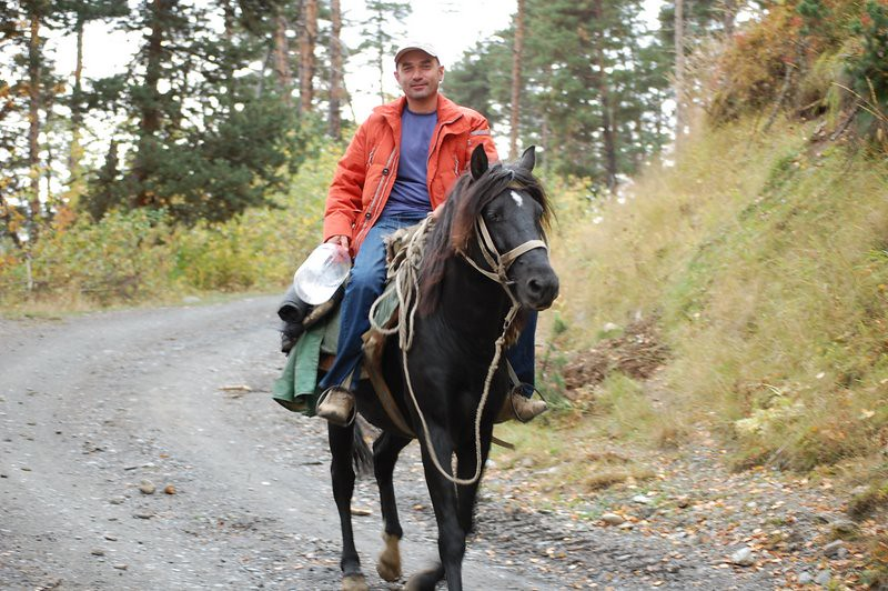 Zaza on horseback