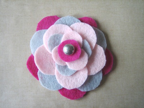 Felt Flower Brooch - Vintage Button Center Attached