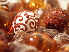 "hollow beads lampwork ""chocolate"""