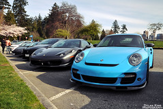 Porsche 911 Turbo 997/2 and Ferrari 458 Italia (Dylan King Photography) Tags: road street blue canada black vancouver silver nikon riviera italia bc britishcolumbia side rear wheels 911 wing ferrari spot front turbo porsche bmw stanleypark parked headlight burrard audi rims panning lamborghini m6 2009 42 rolling v8 matte taillight carbonfiber pur 2010 r8 fsi babyblue hamann blackrims downtownvancouver 458 2011 d90 mattewhite 9972 adv1 lp560 srloungepatioeventfairmontpacificrim