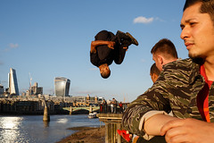 London (jaumescar) Tags: london england unitedkingdom southbank stunt jump color man people streetphotography street photography sky river thames action upsidedown skyline city urban exercise black dof light