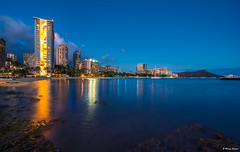 Night Rainbow in Waikiki (dinero57) Tags: waikiki seascape hawaii beach skyline sony zeiss nightphotography buildings diamondhead honolulu