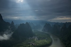 View from Xianggong hill near Yangshuo , China (mlloyd4075) Tags: xiangong hill yangshou china li river karst sunbeam morning